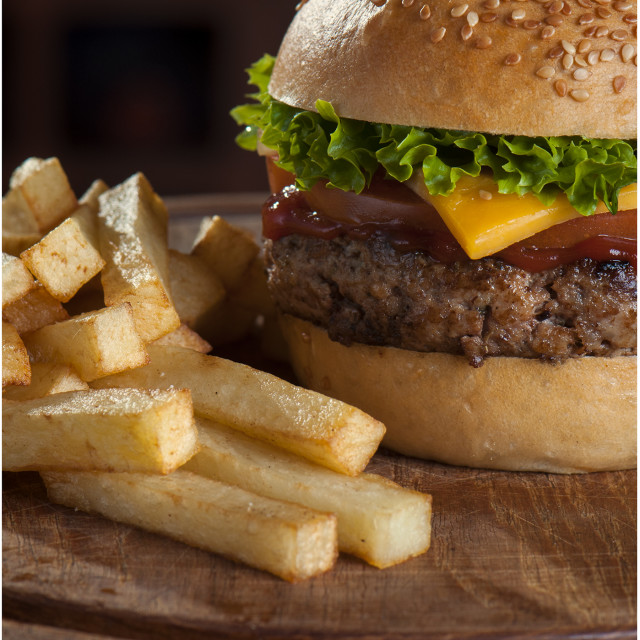 """Hamburger and Chips"" stock image"