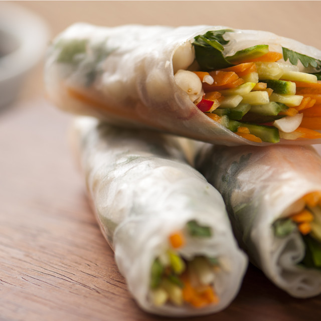 """Asian spring rolls with dipping sauce"" stock image"
