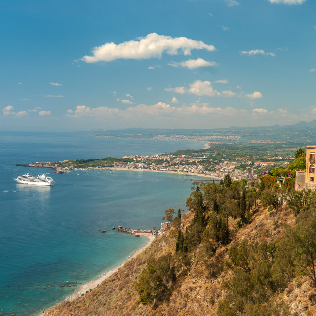 """""""view from Taormina, Sicily"""" stock image"""