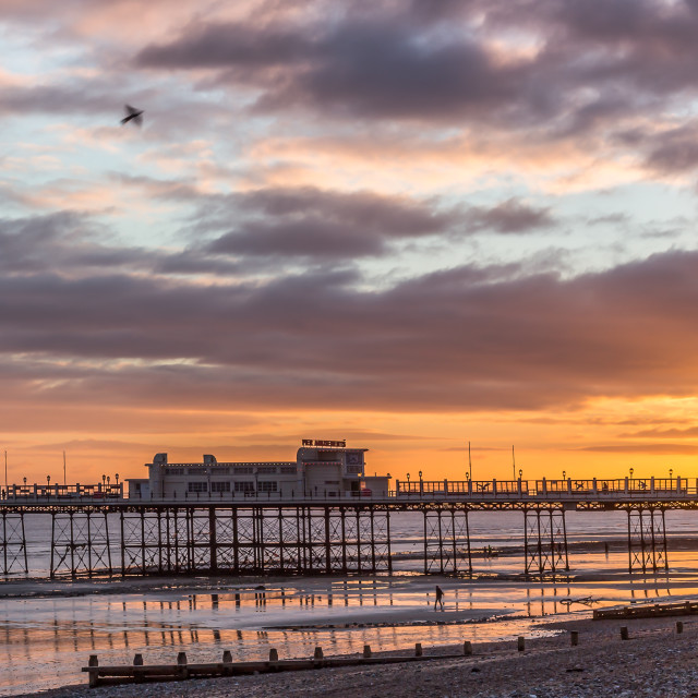 """Worthing pier panorama at sunset"" stock image"