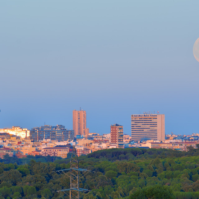 """Supermoon rises over Madrid"" stock image"