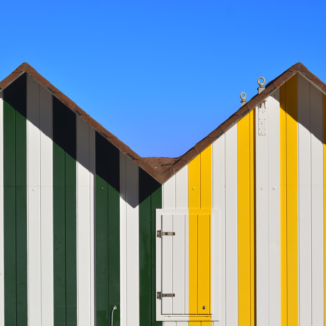 """Colorful beach hut"" stock image"
