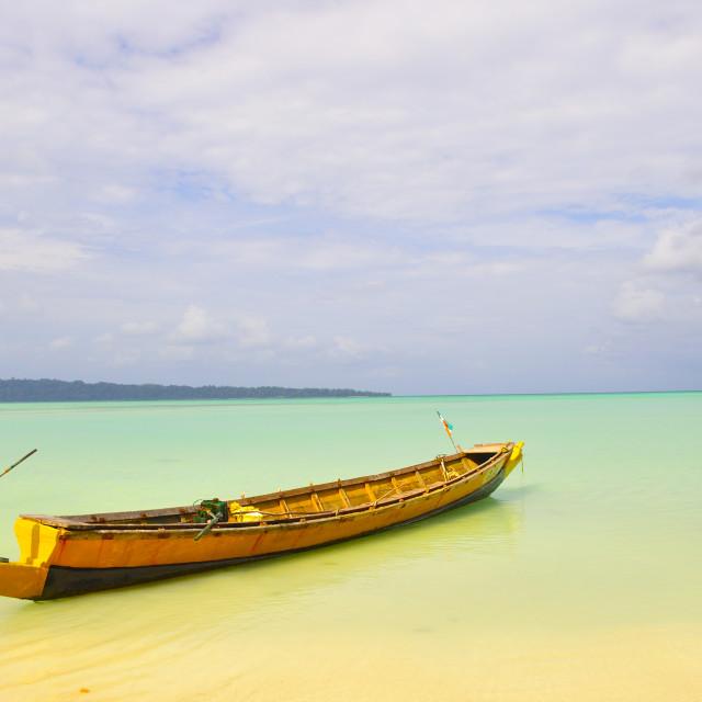 """""""Boat in Havelock Island"""" stock image"""
