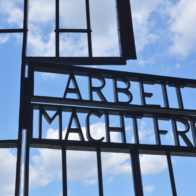 """""""Entrance of Sachsenhausen concentration camp"""" stock image"""