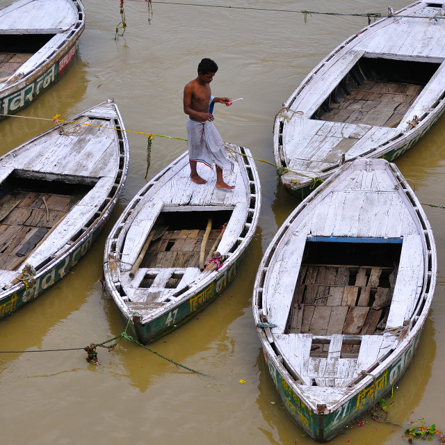 """""""Boats in Ganges River"""" stock image"""