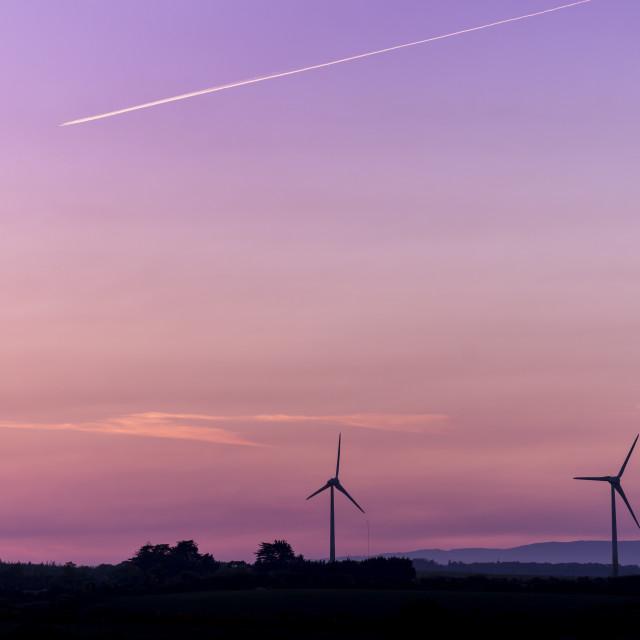"""Turbines at Sunset."" stock image"