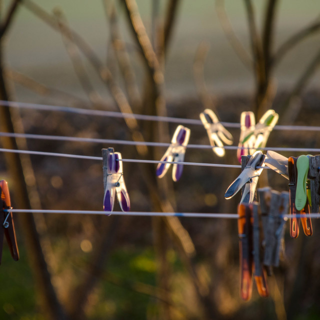 """Clothes pegs in the sun"" stock image"