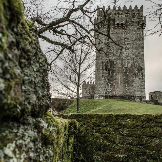"""Peeking the tower of Montalegre's Castle."" stock image"