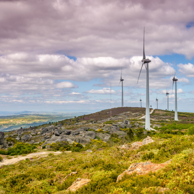 """""""Wind turbines on top of the mountains."""" stock image"""
