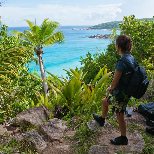 """""""Trekking in Seychelles"""" stock image"""