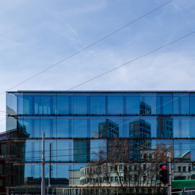 """""""Reflections in Basel"""" stock image"""