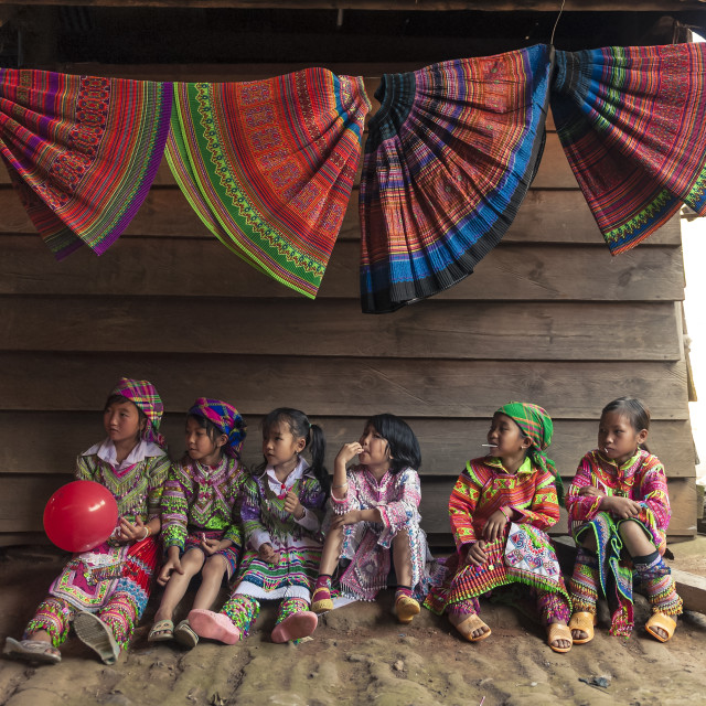 """Hmong Little Girls wearing traditional clothes in their New Year"" stock image"