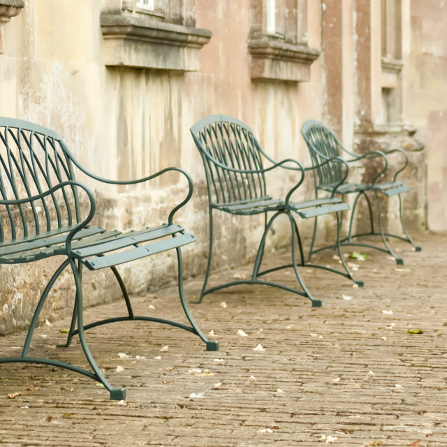 """cobbled street seating"" stock image"