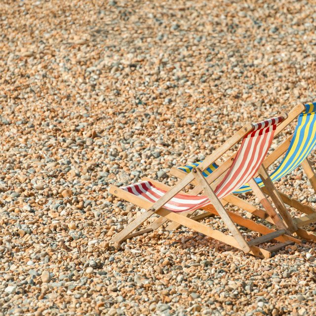 """deckchairs on a beach"" stock image"