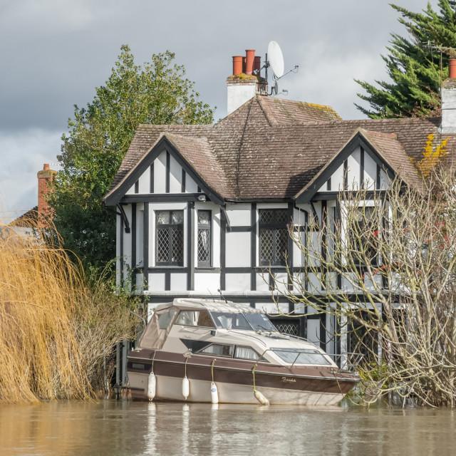 """Flood on the Thames, UK"" stock image"