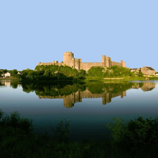 """View over the moat of the Norman castle at Pembroke. The beautif"" stock image"