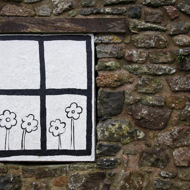 """Cartoon window and flowers"" stock image"