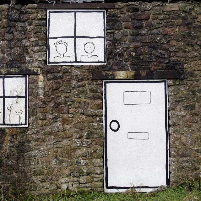 """""""Cartoon windows and door"""" stock image"""