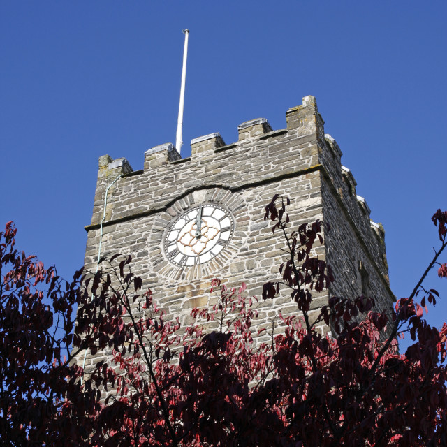 """Church clock tower showing twelve o clock"" stock image"