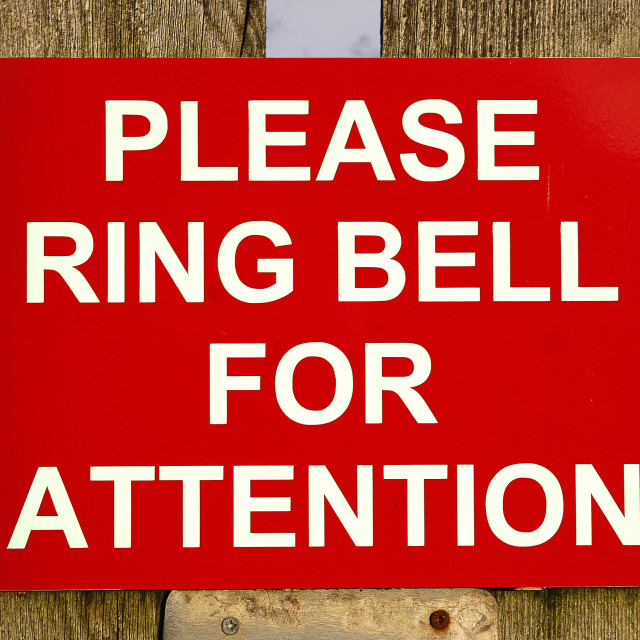 """Red and white ring bell sign"" stock image"