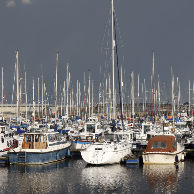 """Yachts in a marina"" stock image"