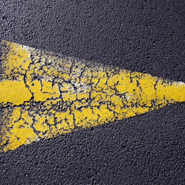 """Cracked yellow arrow"" stock image"