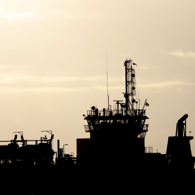 """""""Silhouette of a ship"""" stock image"""