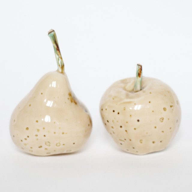 """Ceramic apple & pear"" stock image"