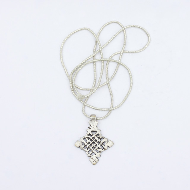 """Crucifix silver necklace"" stock image"