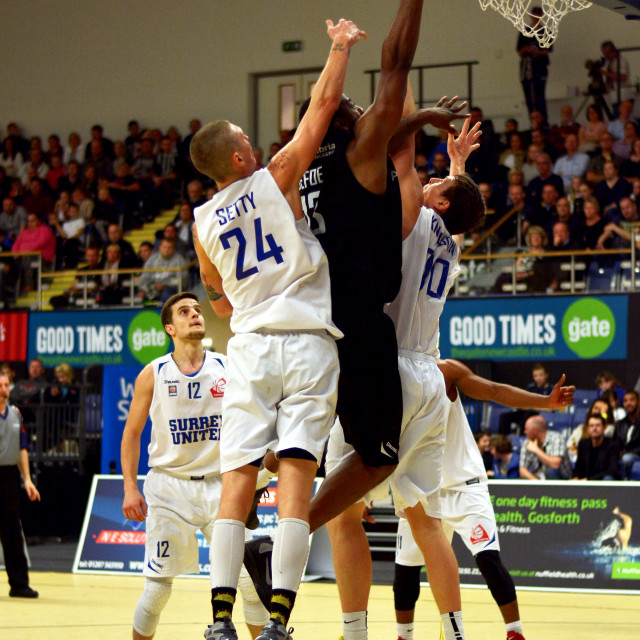 """Up high from Darius Dafoe of the Newcastle Eagles"" stock image"