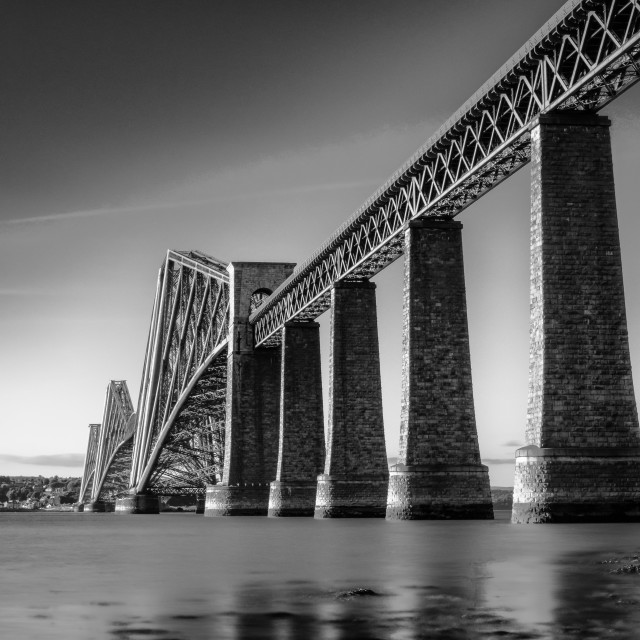 """The Forth Rail Bridge (black and white)"" stock image"