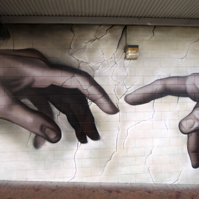 """Near-touching Hands God and Adam Mural Painting"" stock image"
