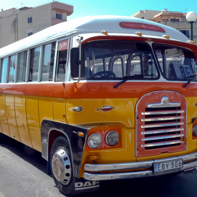"""Vintage Maltese bus"" stock image"