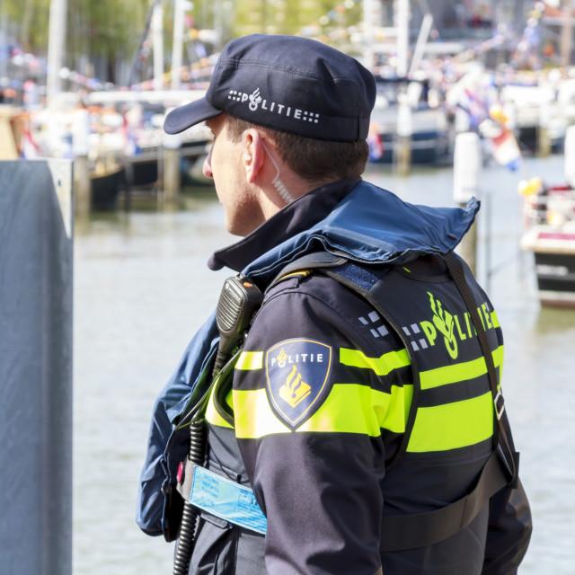 """Policeman guarding"" stock image"