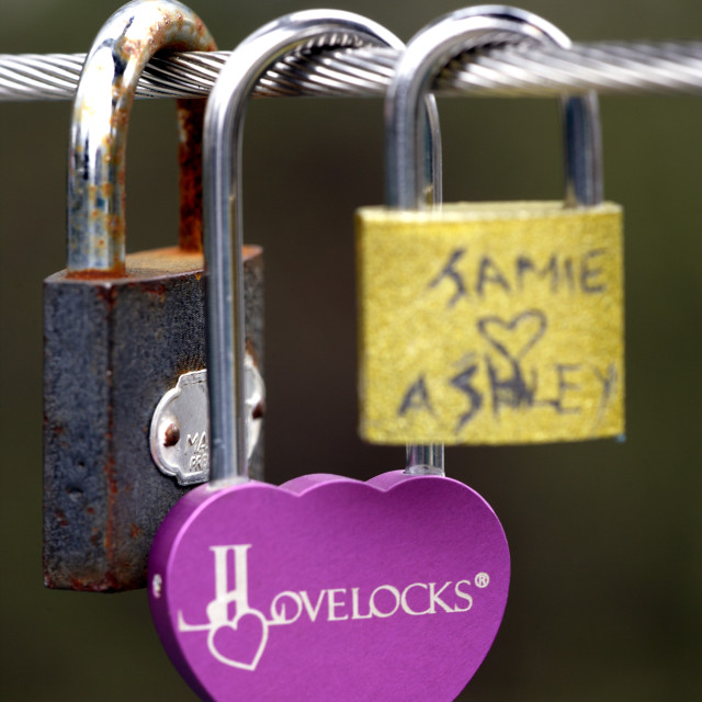 """LOVE TOKEN PADLOCK"" stock image"
