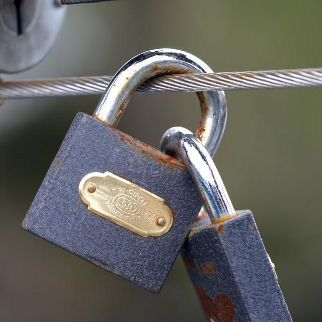 """LOVE TOKEN PADLOCK"" stock image"