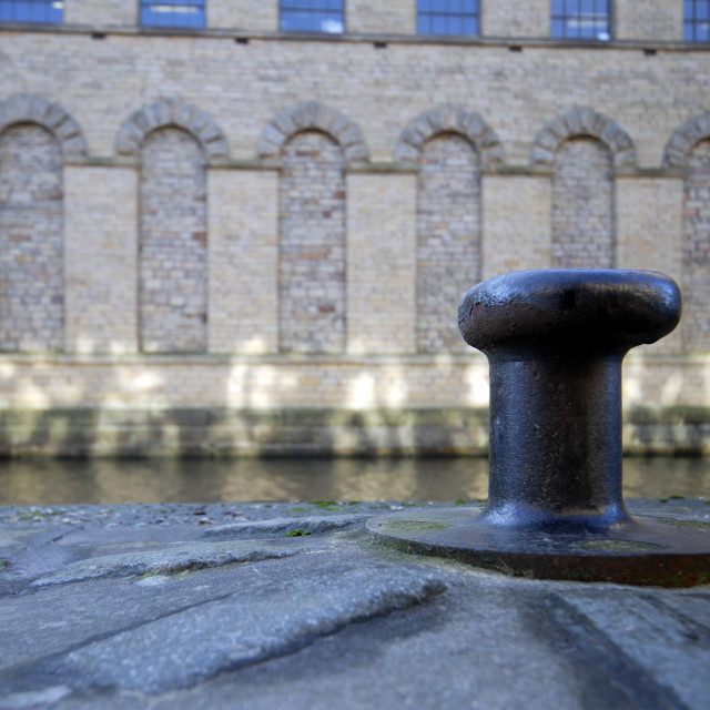 """""""CANALSIDE CAPSTAN AT SALTS MILL"""" stock image"""