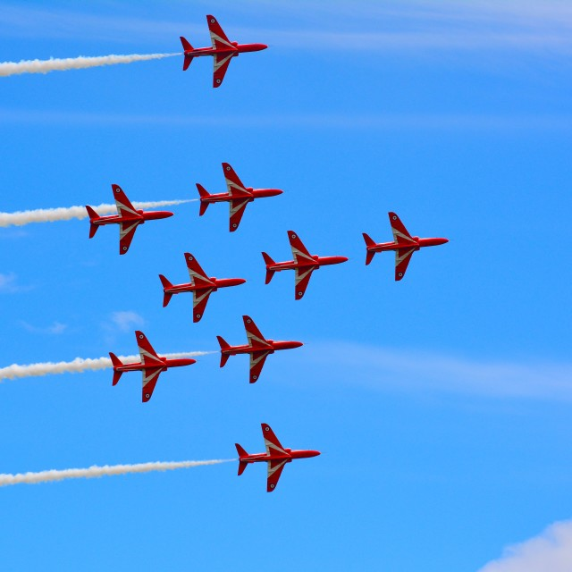 """The RAF Red Arrows"" stock image"