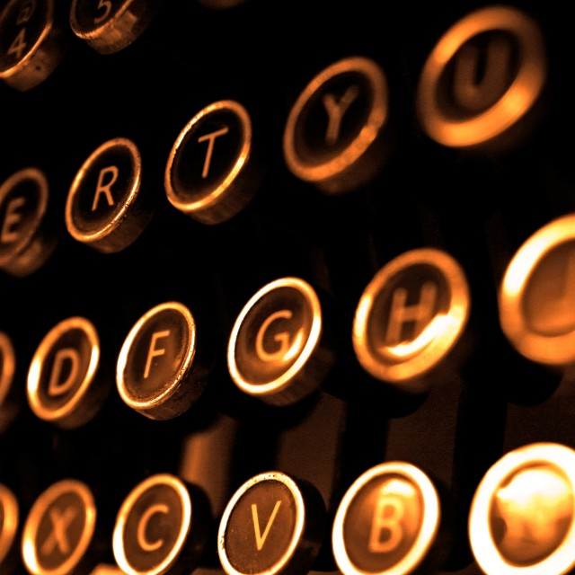 """Antique typewriter keys close up"" stock image"