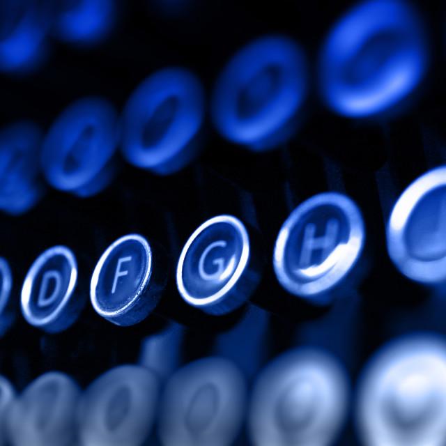 """""""Blue antique typewriter keys"""" stock image"""
