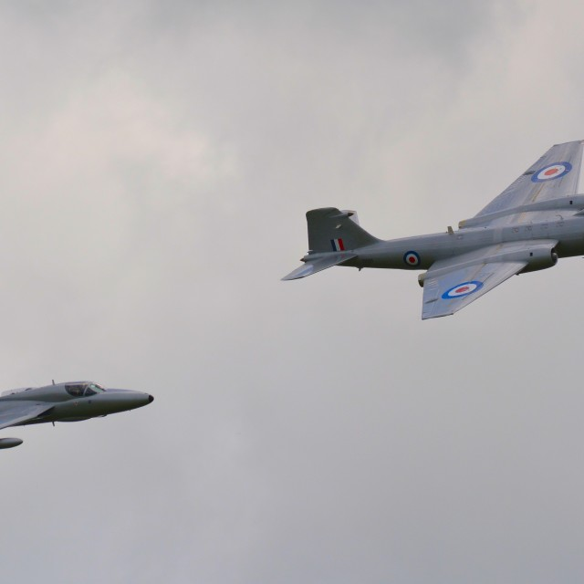 """Hawker hunter and EE Canberra"" stock image"