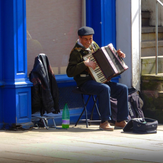 """Busker in Chester"" stock image"