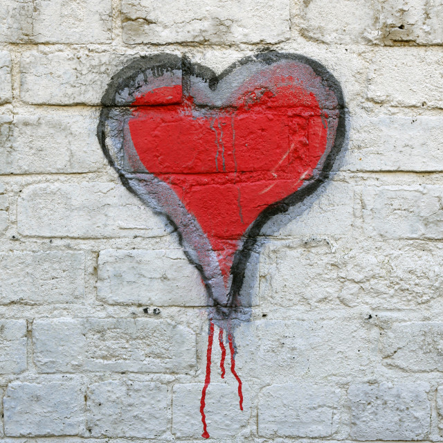"""Red heart grafitti"" stock image"