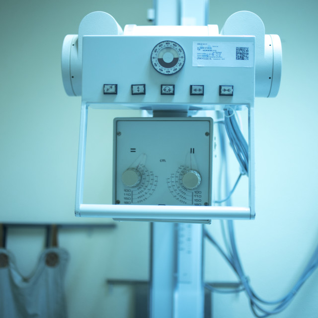 """""""X-ray radiography machine in hospital clinic"""" stock image"""