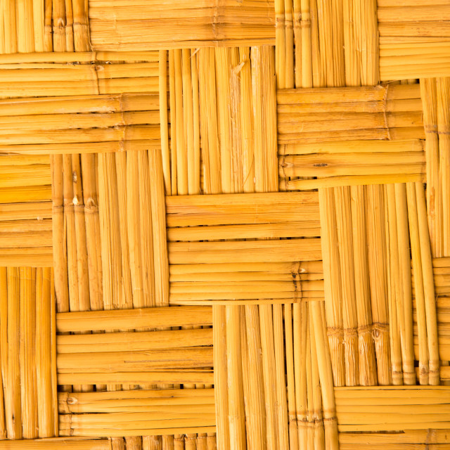 """yellow weaved traiditional bamboo wicker background"" stock image"
