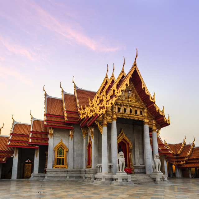 """The famous marble temple Benchamabophit from Bangkok, Thailand"" stock image"