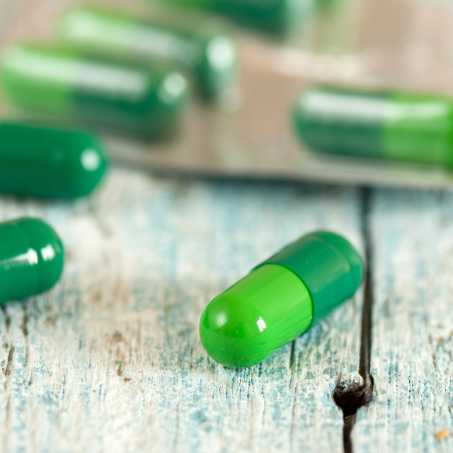 """Green medical capsules"" stock image"