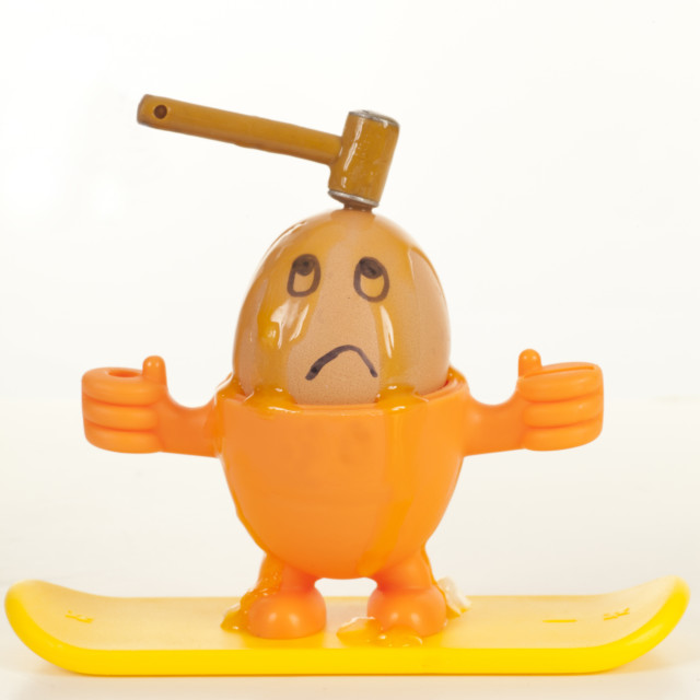 """""""Boiled Egg with Face and Hammer"""" stock image"""