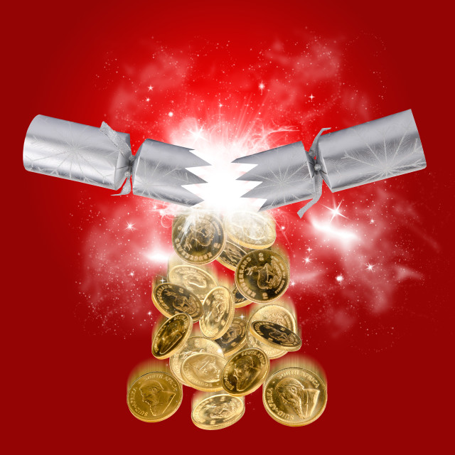 """Exploding christmas cracker"" stock image"