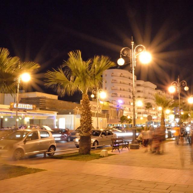 """""""Larnaca Finikoudes at Night"""" stock image"""